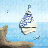 Floral Sailing Boat - Pebble Art Watercolour Picture - Sea Pottery & Driftwood (1248)