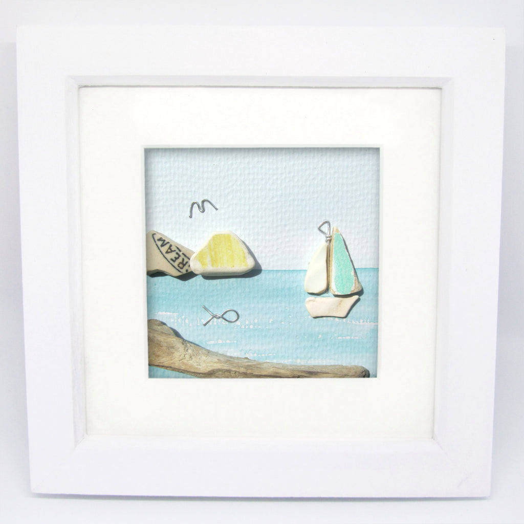 Yacht & 'Cream' Islands - Pebble Art Watercolour Picture - Sea Pottery & Driftwood (1249)