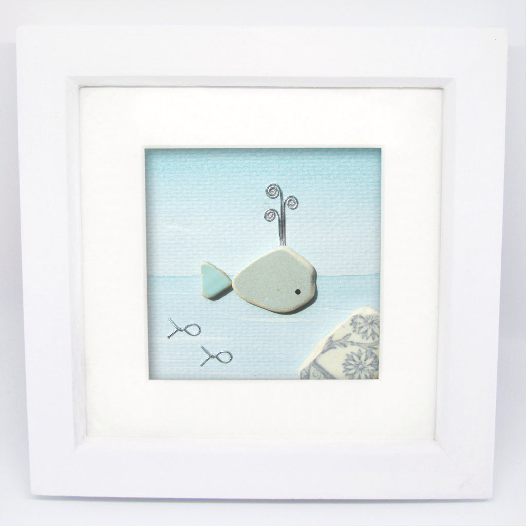 Blue Whale - Pebble Art Watercolour Picture - Sea Pottery  (1250)