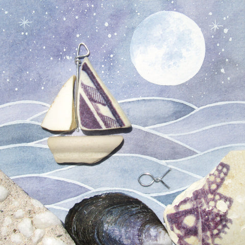 Sailing Boat, Lighthouse & Sunset - Pebble Art Watercolour Picture - Sea Pottery  (1251)