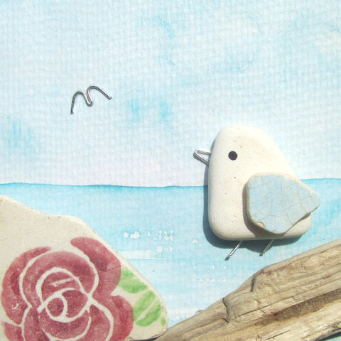 Seagull & Rose Sea Pottery - Pebble Art Watercolour Picture (1252)