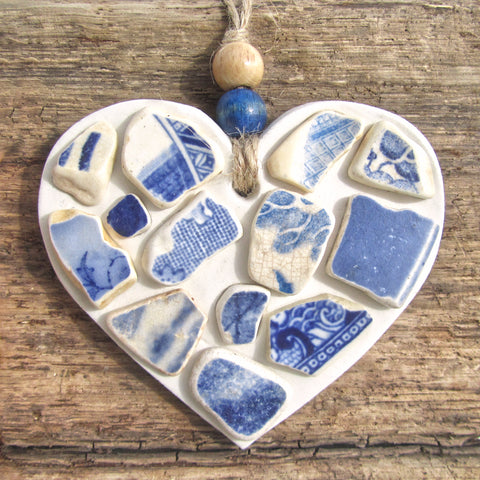 Blue & White Antique Sea Pottery - Clay Love Heart - Seaside Beach Hanger (1253)