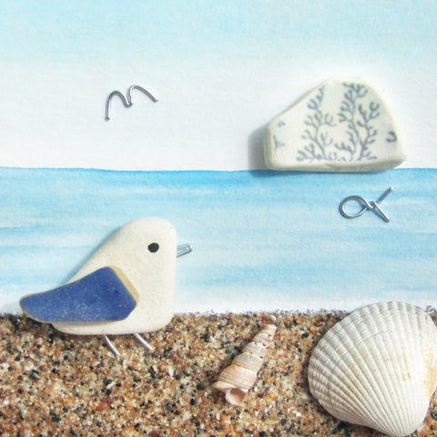 Seagull, Sandy Beach & Bass Rock - Shell & Pottery Watercolour Picture (1254)