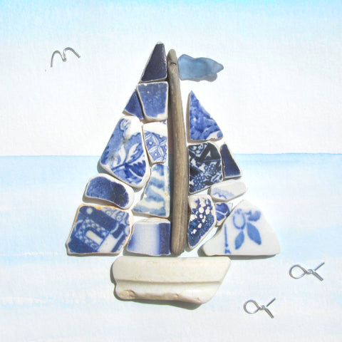 Sailing Boat - Sea Pottery Collage - Driftwood & Sea Glass Watercolour Picture (1255)