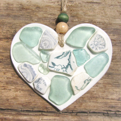 Green Sea Glass & Beach Pottery - Clay Love Heart - Seaside Hanger (1256)