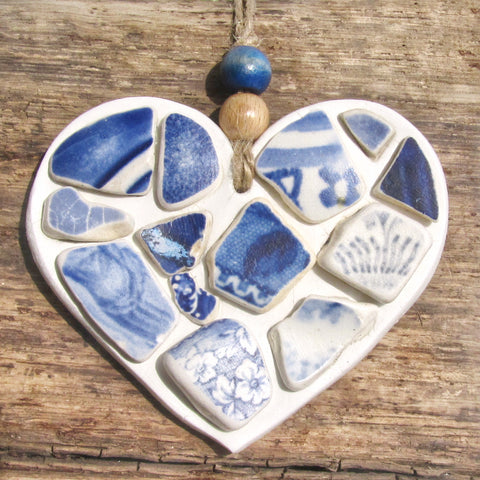 Blue & White Antique Sea Pottery - Clay Love Heart - Seaside Hanger (1258)