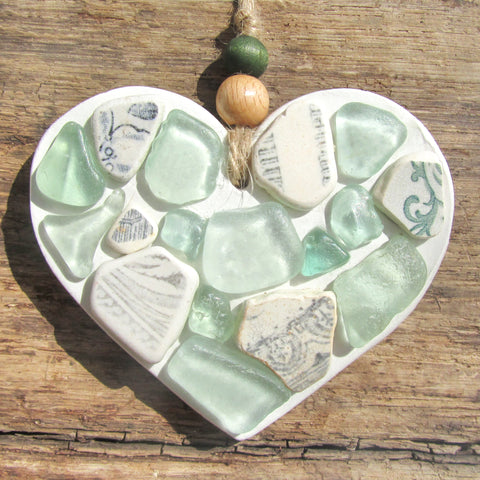 Green Sea Glass & Beach Pottery - Clay Love Heart - Seaside Hanger (1261)