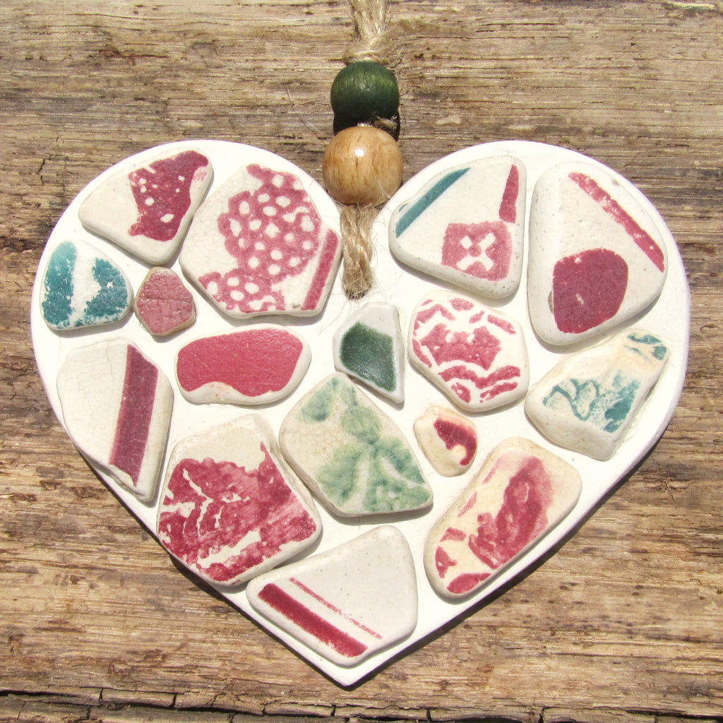 Red & Green Spongeware Antique Sea Pottery - Clay Love Heart - Seaside Hanger (1262)
