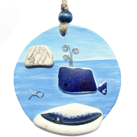 Clay Seaside Hanger with Antique Pottery Whale & Bass Rock (No. 1265)