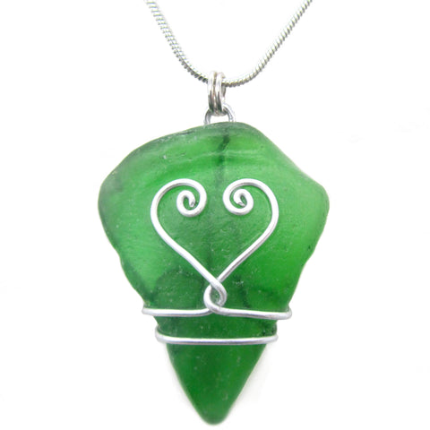 Emerald Green Scottish Sea Glass Pendant Necklace - Love Heart (No. 1272)