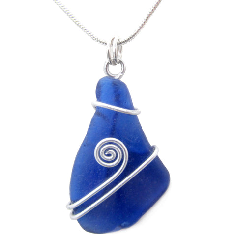 Cobalt Blue Scottish Sea Glass Pendant Necklace - Celtic Swirl (No. 1275)