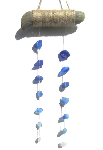 Driftwood Suncatcher Mobile with Tiered Blue Sea Glass (No. 1278)