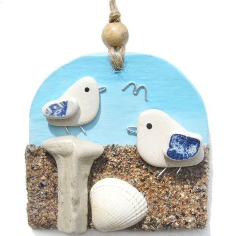Clay Seaside Hanger with Pair of Pottery Seagulls & Sandy Beach (No. 1279)