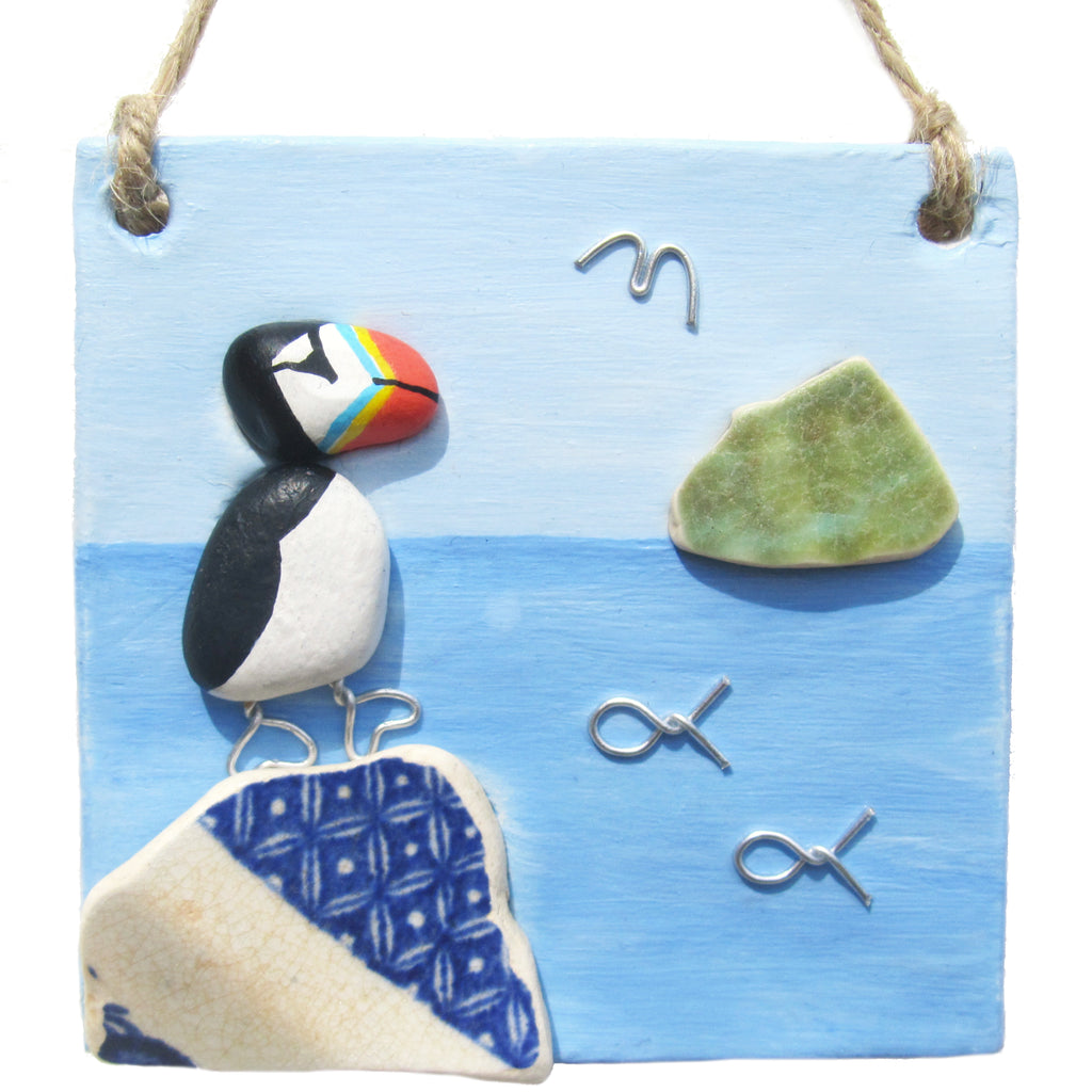 Clay Seaside Hanger with Pottery Puffin & Bass Rock (No. 1280)