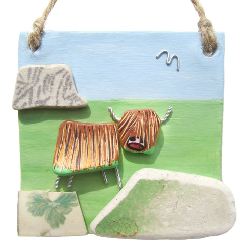 Clay Seaside Hanger with Pottery Highland Cow & Hills (No. 1281)
