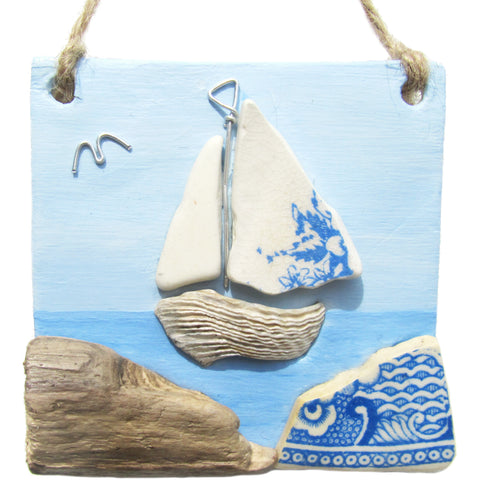 Clay Seaside Hanger with Pottery Sailing Boat (No. 1282)