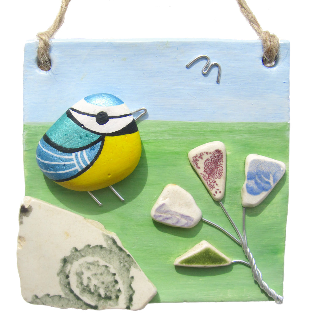Clay Seaside Hanger with Pottery Blue Tit & Flowers (No. 1283)