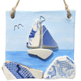 "Clay Seaside Hanger with Pottery ""Willow Pattern"" Sailing Boat (No. 1284)"