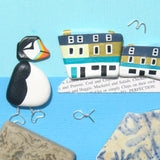 Anstruther Fish Bar & Hand-Painted Puffin - Framed Beach Collage (No. 1291)