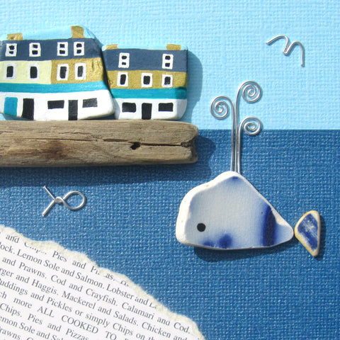Anstruther Fish Bar & Pottery Whale - Framed Beach Collage (No. 1292)