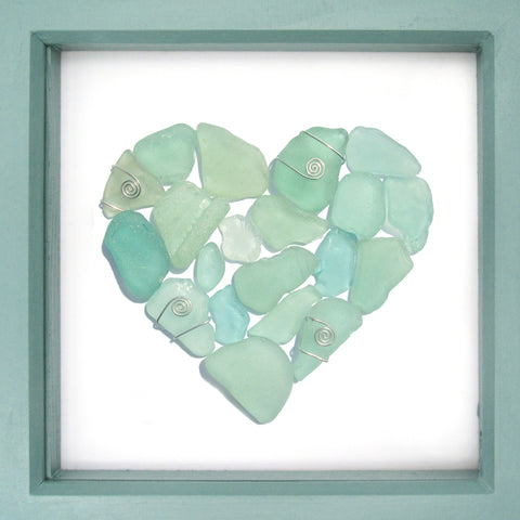 Pale Green Scottish Sea Glass Love Heart - Framed Beach Collage (No. 1297)