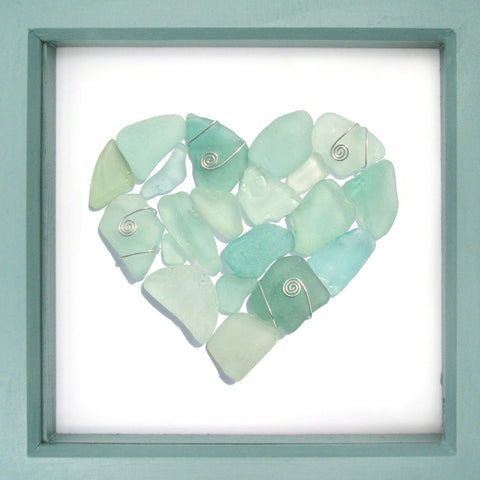 Pale Green Scottish Sea Glass Love Heart - Framed Beach Collage (No. 1298)