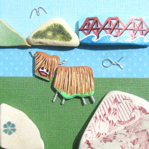 Highland Cow & Forth Rail Bridge - Hand-Painted Framed Beach Collage (No. 1299)