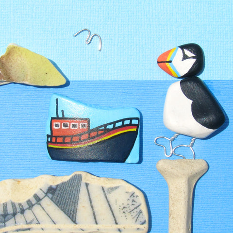 RNLI Lifeboat & Pebble Puffin - Hand-Painted Framed Beach Collage (No. 1301)