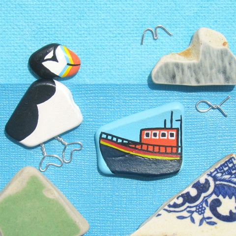 RNLI Lifeboat & Pebble Puffin - Hand-Painted Framed Beach Collage (No. 1302)