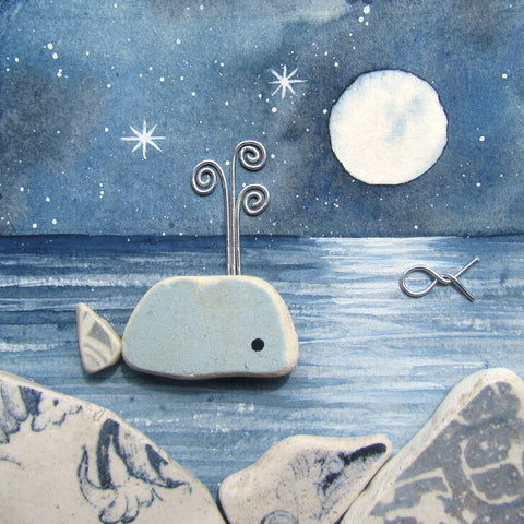Beach Pottery Whale by Moonlight - Framed Watercolour Picture (No. 1305)