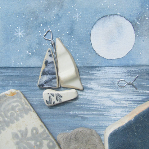 Beach Pottery Sailing Boat by Moonlight - Framed Watercolour Picture (No. 1306)