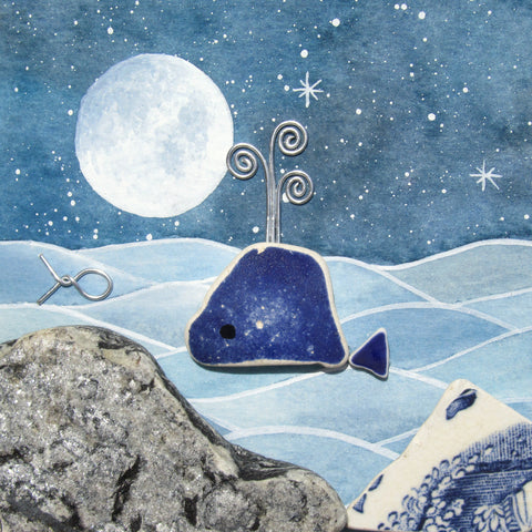 Beach Pottery Whale by Moonlight - Framed Watercolour Picture (No. 1316)