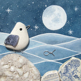 Pebble Seagull by Moonlight - Framed Watercolour & Beach Pottery Picture (No. 1320)