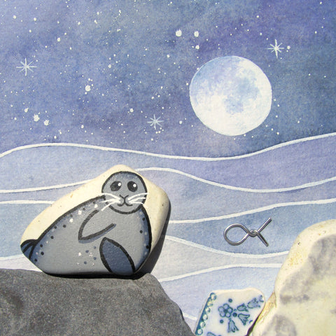 Pebble Seal by Moonlight - Framed Watercolour & Beach Pottery Picture (No. 1322)