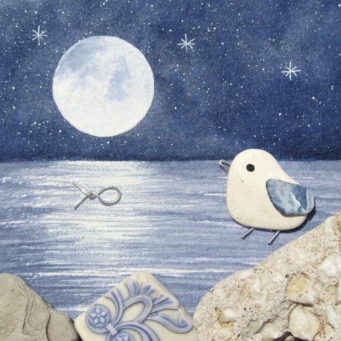 Pebble Seagull by Moonlight - Framed Watercolour & Beach Pottery Picture (No. 1324)