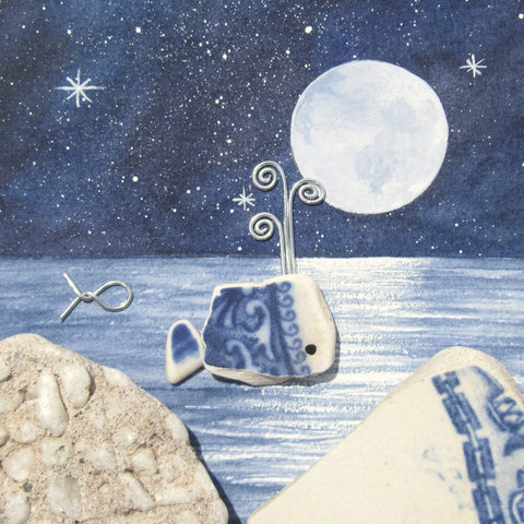 Pottery Whale by Moonlight - Framed Watercolour Picture (No. 1326)