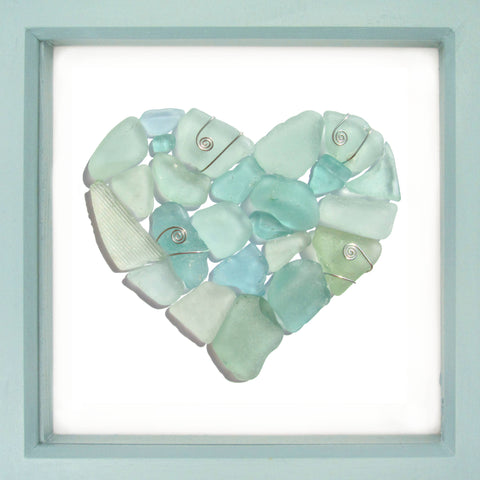 Pale Green Scottish Sea Glass Love Heart - Framed Beach Collage (No. 1329)