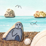 Hand-Painted Seal, Sandy Beach & Bass Rock - Pebble Art & Shell Watercolour Picture (1332)