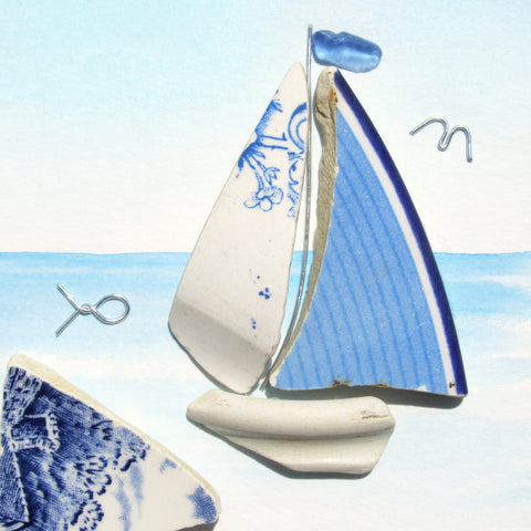Antique Beach Pottery Blue Sailing Boat - Pebble Art Watercolour Picture (1333)