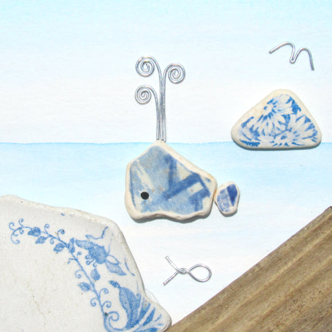 Antique Beach Pottery Whale & Berwick Law - Pebble Art Watercolour Picture (1334)