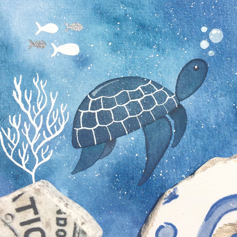 Turtle - Underwater Painting - Original Watercolour with Beach Pottery (No. 1336)