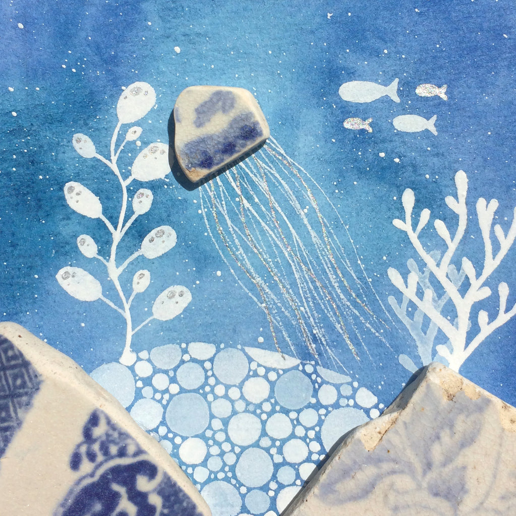 Beach Pottery Jellyfish - Original Underwater Watercolour Painting (No. 1337)