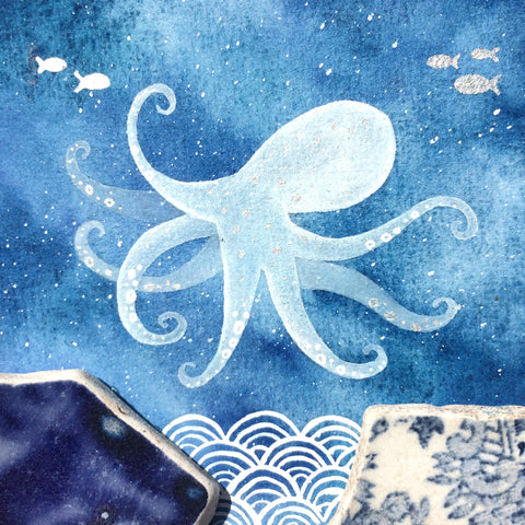 Octopus - Underwater Painting - Original Watercolour with Beach Pottery (No. 1339)