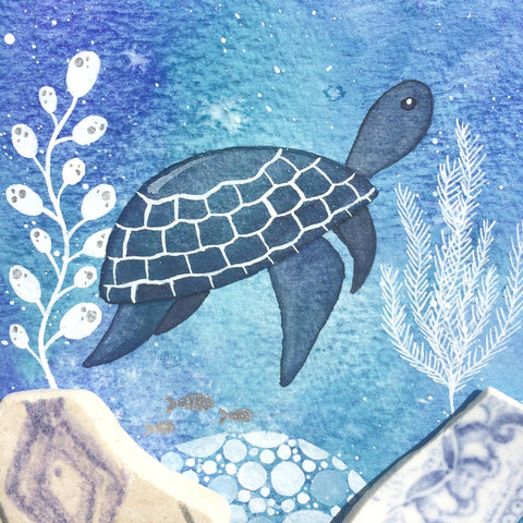 Turtle - Underwater Painting - Original Watercolour with Beach Pottery (No. 1341)