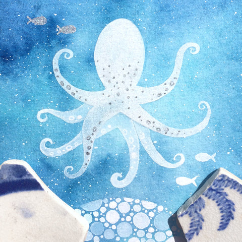 Octopus - Underwater Painting - Original Watercolour with Beach Pottery (No. 1343)