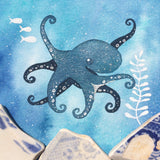 Octopus - Underwater Painting - Original Watercolour with Beach Pottery (No. 1344)