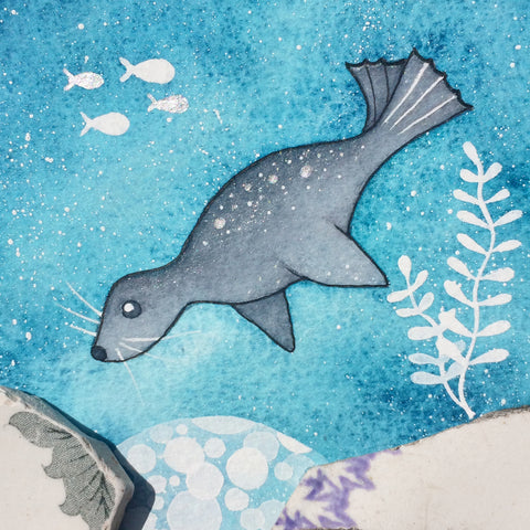 Grey Seal - Underwater Painting - Original Watercolour with Beach Pottery (No. 1345)