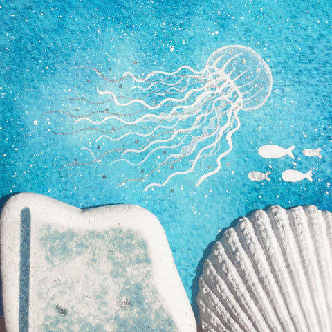 Jellyfish - Underwater Painting - Original Watercolour with Beach Pottery (No. 1347)