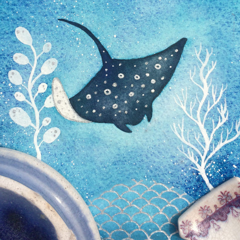 Stingray - Underwater Painting - Original Watercolour with Beach Pottery (No. 1349)