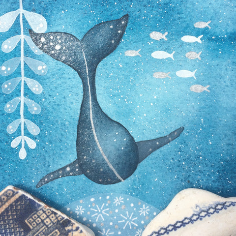Whale - Underwater Painting - Original Watercolour with Beach Pottery (No. 1351)